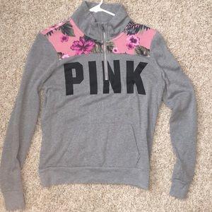 Quarter-zip PINK sweatshirt
